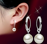 cheap -Women's Ball Pearl Pearl Sterling Silver Silver Drop Earrings - Basic Birthstones Fashion Silver Earrings For Wedding Party Birthday