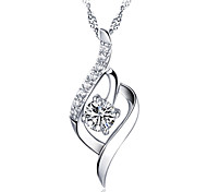 cheap -Women's Heart Sterling Silver Crystal Pendant Necklace - Basic Fashion Heart Necklace For Party Thank You Daily Casual Valentine