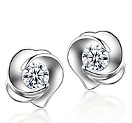 cheap -Men's Women's Stud Earrings Fashion Sterling Silver Crystal Silver Roses Flower Jewelry Wedding Party Daily Costume Jewelry