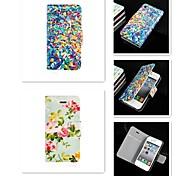 цветы шаблон PU кожа полный случай орган по iPhone 4 / 4s
