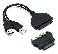 CY® Double USB 3.0 Cable with Micro SATA Adapter