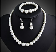 cheap -Women's Pearl Jewelry Set - Pearl, Silver Plated Party, Link / Chain, Elegant Include Drop Earrings / Pearl Necklace White For Wedding / Party / Special Occasion