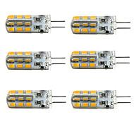 Недорогие -1.5W G4 LED лампы типа Корн T 24 светодиоды SMD 2835 Диммируемая Тёплый белый Холодный белый 100-150lm 2800-3000/6000-6500K DC 12V