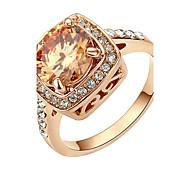 HKTC Valentine's Day Gift 18k Rose Gold Plated Champagne Crystal Cz Diamond Party Finger RingImitation Diamond Birthstone