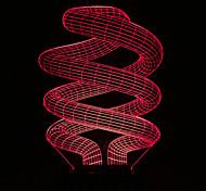 visuais 3d espiral mudança de cor levou decoração usb lâmpada de tabela colorida do presente de luz noturna