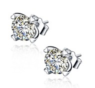 Earrings/Stud Earrings,Jewelry, Women 925 Silver Sterling Silver Jewelry Zircon/Cubic Zirconia Inlaid,6mm Heart Earrings 1Pair,2016 Korean