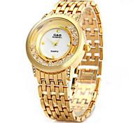 Mujer Reloj de Moda Reloj de cristal flotante Cuarzo La imitación de diamante Acero Inoxidable Banda Plata Dorado