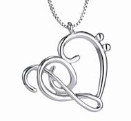 Ожерелье Ожерелья с подвесками Бижутерия Свадьба Для вечеринок Повседневные В форме сердца Сердце Сплав Женский 1шт Подарок Серебряный