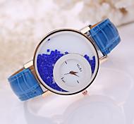 baratos -Mulheres Quartzo Relógios Femininos com Cristais Relógio Casual Couro Banda Amuleto Fashion Preta Branco Azul Vermelho Marrom Rosa