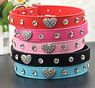 Dog Collar Leash Rhinestone Hearts PU Leather Black Red Blue Pink
