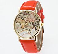 Недорогие -Жен. Кварцевый Наручные часы PU Группа Винтаж / World Map Pattern / Мода Черный / Синий / Красный / Оранжевый / Коричневый / Зеленый /