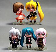 Lovely Hatsune Miku 5 PCS  Model Doll Toys Sets Anime(PP Bag Packaging)