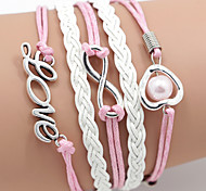 cheap -Women's Leather Heart Infinity Leather Bracelet Wrap Bracelet - Love Heart Infinity LOVE Pink Bracelet For Daily Casual Sports