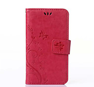 For Samsung Galaxy Case Card Holder / Wallet / with Stand / Flip / Embossed Case Full Body Case Flower PU Leather Samsung Ace 4