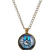 Men's Women's Pendant Necklaces Animal Shape Butterfly Synthetic Gemstones Glass Alloy Simple Style Jewelry For Party Daily Casual