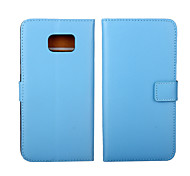 Solid color Stylish Genuine Leather Flip Cover Wallet Card Slot Case with Stand for Samsung GALAXY S6 Edge plus S5 S4 S3