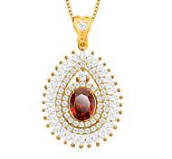 Недорогие -циркон кулон 18k ожерелье золота гальваническим Австрийское кристаллическое ювелирных изделий женщин аксессуары бренда подарок p30106