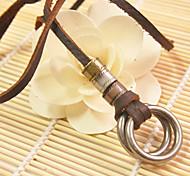 Недорогие -Ожерелье Ожерелья с подвесками Бижутерия Повседневные / Спорт Геометрической формы Кожа Коричневый 1шт Подарок