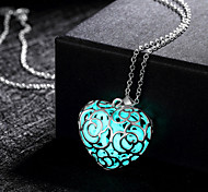 cheap -Women's Pendant Necklace  -  Love Illuminated Hollow Green Blue Light Blue Necklace For Wedding Party Daily
