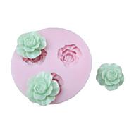 3D 3 células Flores Silicone Mold Fondant Moldes Sugar Craft Ferramentas Chocolate Mould para bolos