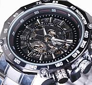 WINNER Herren Mechanische Uhr Armbanduhr Automatikaufzug Transparentes Ziffernblatt Edelstahl Band Luxuriös Silber Weiß Schwarz