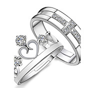 cheap -Couple's Sterling Silver / Rhinestone / Silver Cross / Heart Crown Couple Rings / Engagement Ring - 2pcs Crown Love / Bridal / Fashion