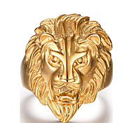 cheap -Men's Statement Ring Golden Stainless Steel Lion Animal Fashion Christmas Gifts Daily Casual Sports Costume Jewelry
