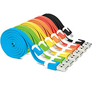 cheap -1M Colorful USB 2.0 Male to Micro USB 2.0 Male Flat Cable for Samsung Huawei HTC Android Phones