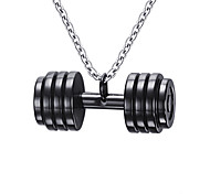 cheap -Men's Stainless Steel Pendant Necklace Pendant - Fashion Dumbbell Gold Black Necklace For Daily Casual