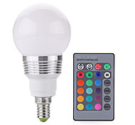 cheap -2W 250 lm E14 LED Globe Bulbs A60(A19) 1 leds COB Dimmable Decorative Remote-Controlled RGB AC 85-265V