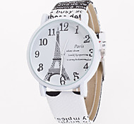 Женские Модные часы Кварцевый Кожа Группа Эйфелева башня Цветы Белый Синий Коричневый Хаки