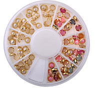 cheap -New Arrive Fashion Colorized Rhinestones For Nails Gold Alloy Nail Art Glitter Studs Stickers Decoration
