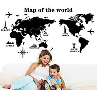Environmental Removable Black World Map Wall Stickers Vintage PVC Wall Decals Living Room Wall Sticker