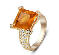 11mm Square Orange CZ Alloy Women Trendy Jewelry Rhoudim Plated Rings For Party 2016