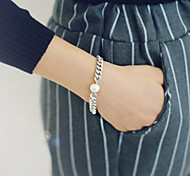 SIlver Pearl Chain Bracelet for Lady
