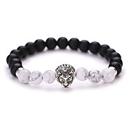 cheap -New Arrival Nature Stone Black Sand Grinding Alloy Lion a Bead Bracelet  #YMGS1012 Christmas Gifts