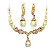 cheap -Women's Imitation Pearl Jewelry Set Earrings / Necklace - Basic / Bridal / Imitation Pearl Jewelry Golden Jewelry Set For Wedding / Party