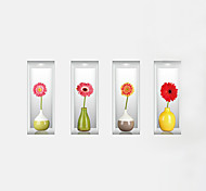 Недорогие -Цветы Наклейки 3D наклейки Декоративные наклейки на стены,PVC материал Влажная чистка / Съемная / Положение регулируется Украшение дома