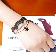 Black Lace Tatoo Fabric Wrap Bracelet with Star Pendant Charm Bracelet Christmas Gifts