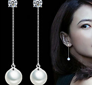 cheap -Women's Pearl / Imitation Pearl Drop Earrings - Bridal / Elegant / Simple Style Silver Circle / Jewelry Earrings For Wedding / Party /