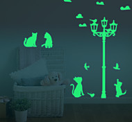 cheap -Luminous Diy Cute Home Cat Switch Wall Sticker Night Light Bedroom Fluorescent Wall Sticker