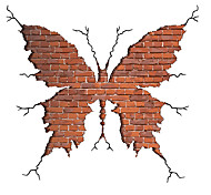3D Broken Wall Design Fashion Butterfly Wall Stickers Modern Style Bedroom Living Room Wall Decals