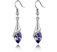 cheap -Super Bright Austrian Crystals Angel Eyes Teardrop-shaped Sterling Silver Amethyst Earrings