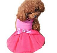 Недорогие -Кошка Собака Платья Одежда для собак Очаровательный День рождения Бант Стразы Контрастных цветов Черный Желтый Розовый Зеленый Синий