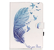 PU Leather Material Blue Feather Pattern Painted Embossed Tablet Case for iPad Air 2