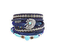 Fashion Women Multi Rows Stone Set Beauty Head Leather Wrap Bracelet Christmas Gifts