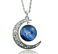 cheap -Women's Moon Shape Unique Design Galaxy Fashion European Pendant Necklace Synthetic Gemstones Glass Alloy Pendant Necklace Wedding Party