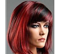 Недорогие -Парики из искусственных волос Прямой Стрижка боб С чёлкой плотность Жен. Красный Карнавальный парик Парик для Хэллоуина Парик из