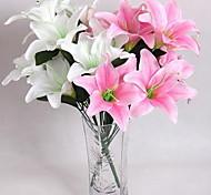 baratos -4clor tela de imitação de alta imitação de flores de lírio flores casa decoração