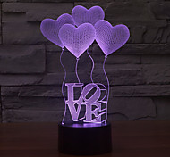 cheap -LOVE Touch Dimming 3D LED Night Light 7Colorful Decoration Atmosphere Lamp Novelty Lighting Light